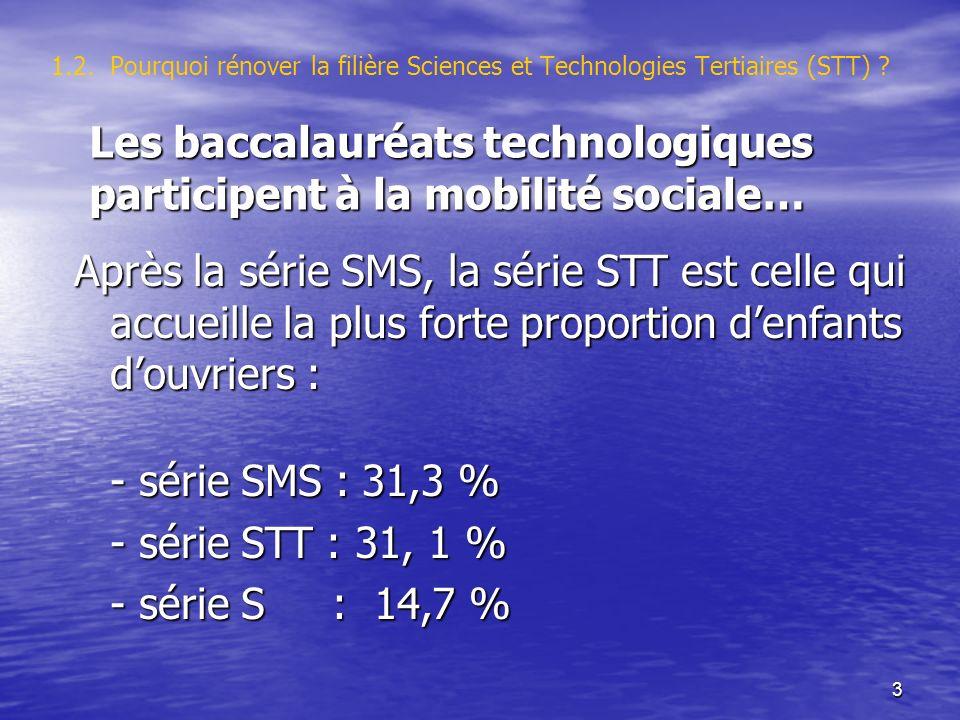 3 1.2. Pourquoi rénover la filière Sciences et Technologies Tertiaires (STT) ? Après la série SMS, la série STT est celle qui accueille la plus forte