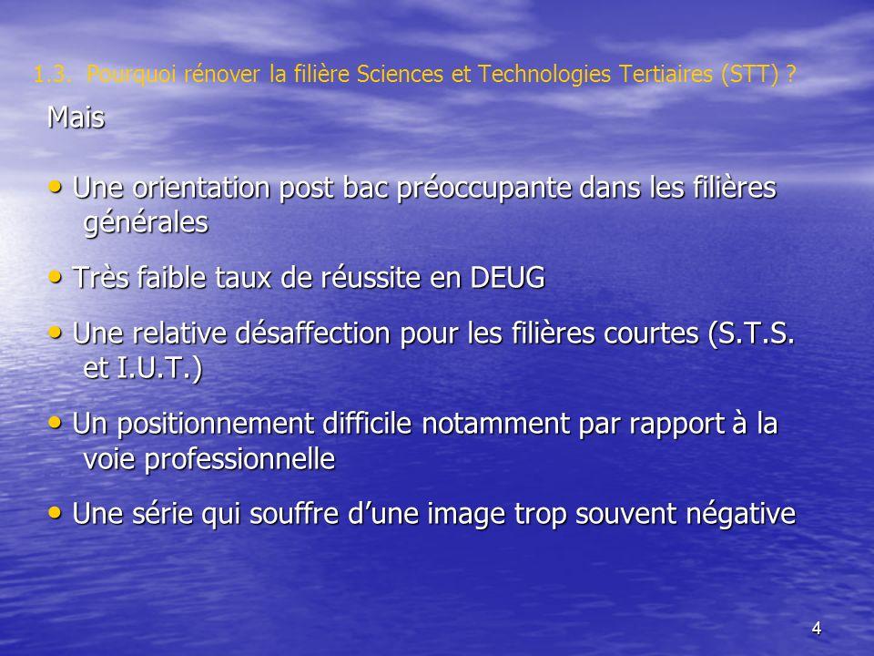 4 1.3. Pourquoi rénover la filière Sciences et Technologies Tertiaires (STT) .