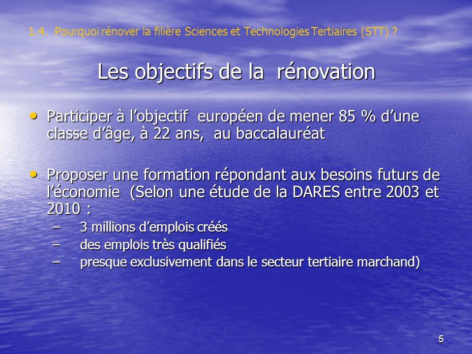5 1.4. Pourquoi rénover la filière Sciences et Technologies Tertiaires (STT) ? Les objectifs de la rénovation Participer à lobjectif européen de mener