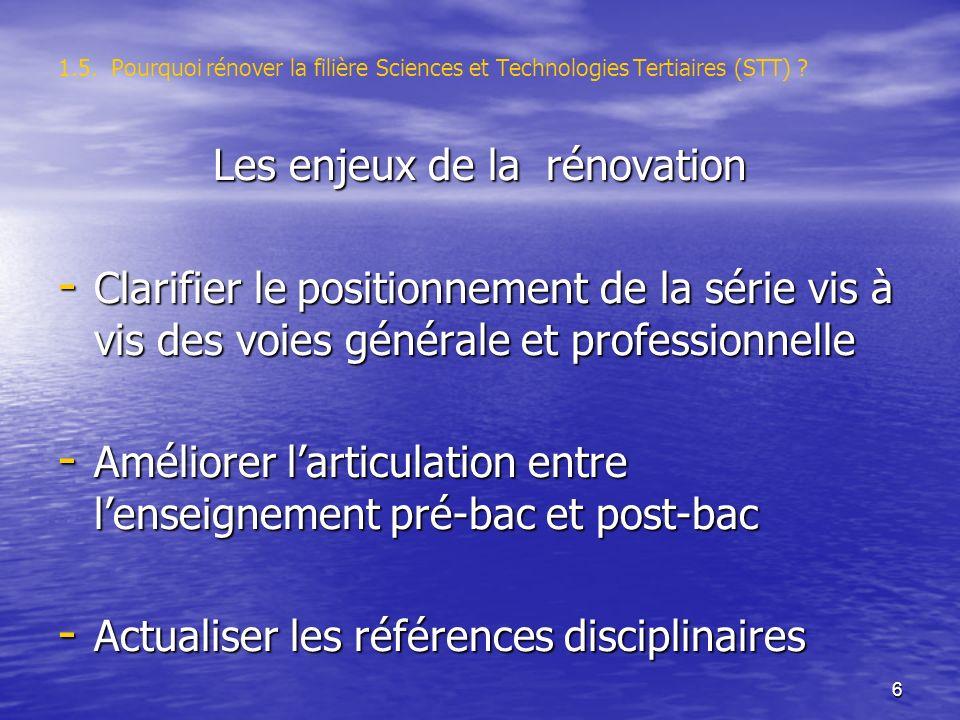 6 1.5. Pourquoi rénover la filière Sciences et Technologies Tertiaires (STT) .