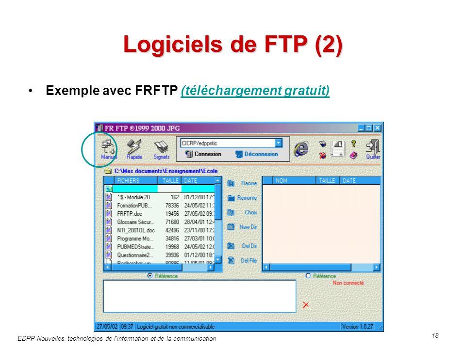 EDPP-Nouvelles technologies de l information et de la communication 18 Logiciels de FTP (2) Exemple avec FRFTP (téléchargement gratuit)(téléchargement gratuit)