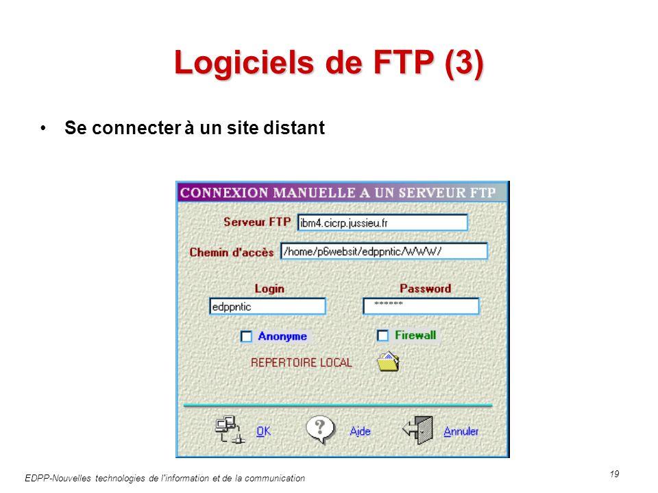 EDPP-Nouvelles technologies de l information et de la communication 19 Logiciels de FTP (3) Se connecter à un site distant ******