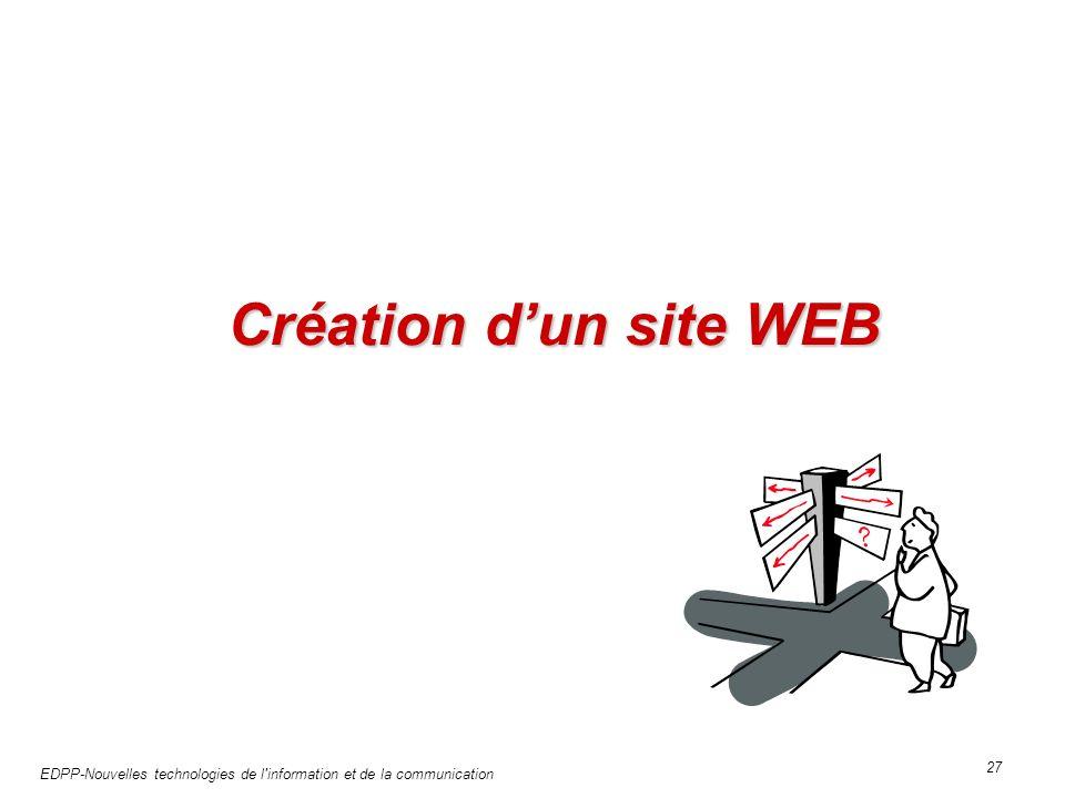 EDPP-Nouvelles technologies de l information et de la communication 27 Création dun site WEB