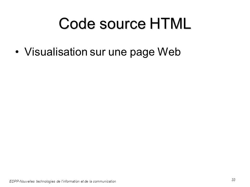 EDPP-Nouvelles technologies de l information et de la communication 33 Code source HTML Visualisation sur une page Web
