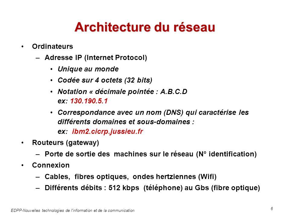 EDPP-Nouvelles technologies de l information et de la communication 6 Architecture du réseau Ordinateurs –Adresse IP (Internet Protocol) Unique au monde Codée sur 4 octets (32 bits) Notation « décimale pointée : A.B.C.D ex: 130.190.5.1 Correspondance avec un nom (DNS) qui caractérise les différents domaines et sous-domaines : ex: ibm2.cicrp.jussieu.fr Routeurs (gateway) –Porte de sortie des machines sur le réseau (N° identification) Connexion –Cables, fibres optiques, ondes hertziennes (Wifi) –Différents débits : 512 kbps (téléphone) au Gbs (fibre optique)