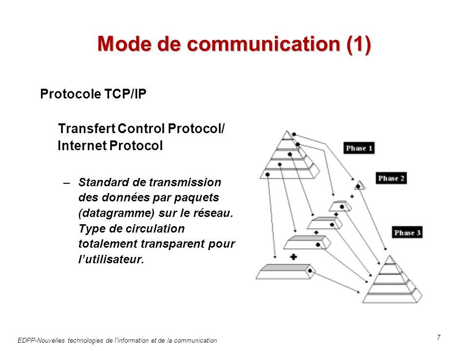 EDPP-Nouvelles technologies de l information et de la communication 7 Mode de communication (1) Protocole TCP/IP Transfert Control Protocol/ Internet Protocol –Standard de transmission des données par paquets (datagramme) sur le réseau.