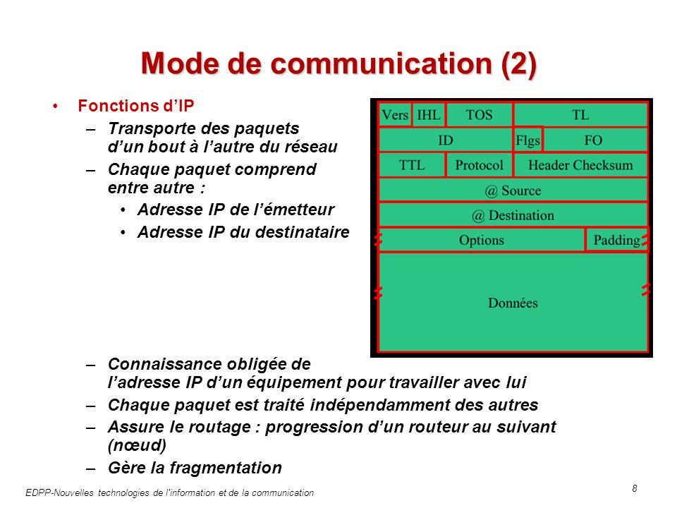 EDPP-Nouvelles technologies de l information et de la communication 8 Mode de communication (2) Fonctions dIP –Transporte des paquets dun bout à lautre du réseau –Chaque paquet comprend entre autre : Adresse IP de lémetteur Adresse IP du destinataire –Connaissance obligée de ladresse IP dun équipement pour travailler avec lui –Chaque paquet est traité indépendamment des autres –Assure le routage : progression dun routeur au suivant (nœud) –Gère la fragmentation