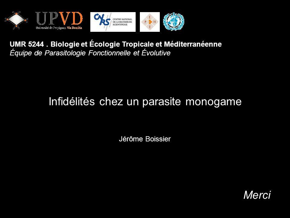 Jérôme Boissier UMR 5244. Biologie et Écologie Tropicale et Méditerranéenne Équipe de Parasitologie Fonctionnelle et Évolutive Merci Infidélités chez
