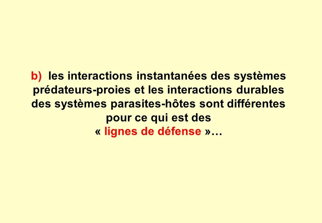 b) les interactions instantanées des systèmes prédateurs-proies et les interactions durables des systèmes parasites-hôtes sont différentes pour ce qui