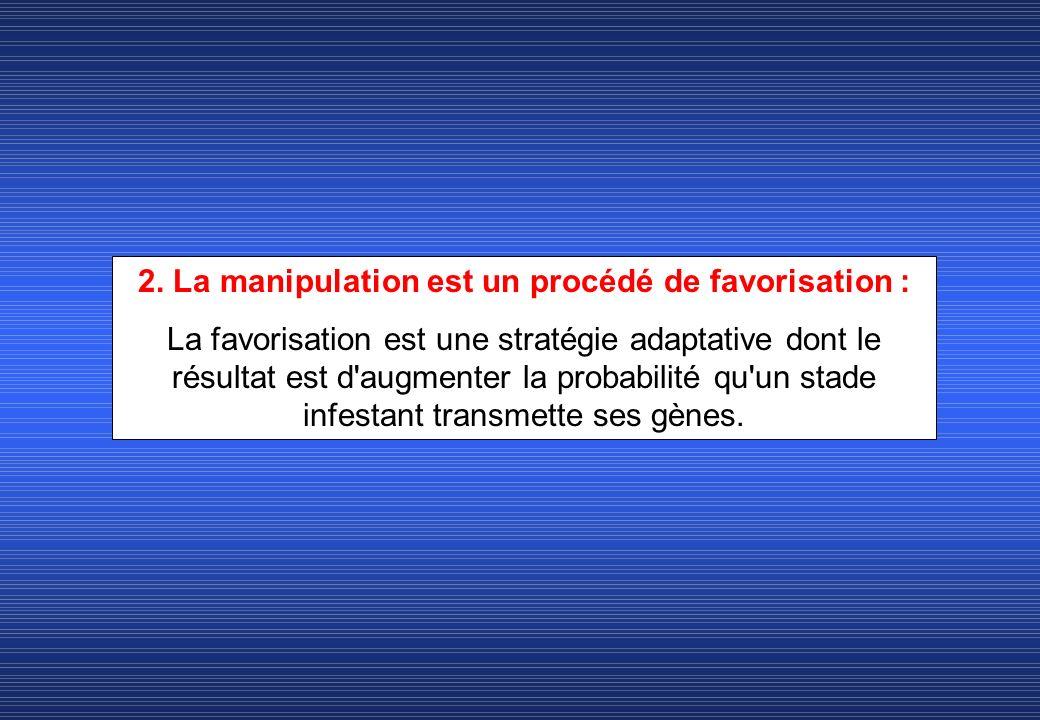 2. La manipulation est un procédé de favorisation : La favorisation est une stratégie adaptative dont le résultat est d'augmenter la probabilité qu'un