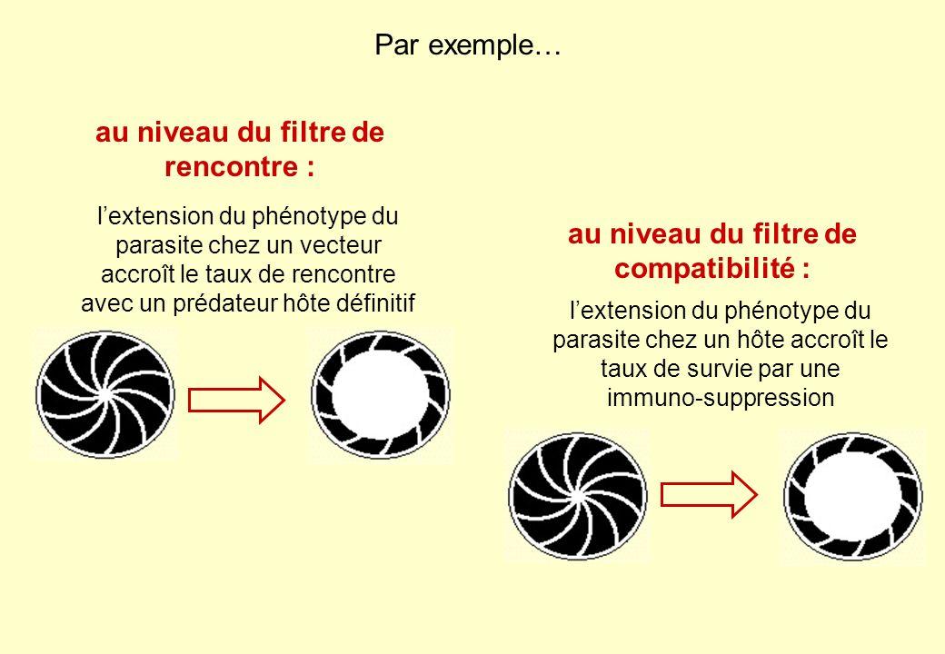 lextension du phénotype du parasite chez un vecteur accroît le taux de rencontre avec un prédateur hôte définitif au niveau du filtre de rencontre : l