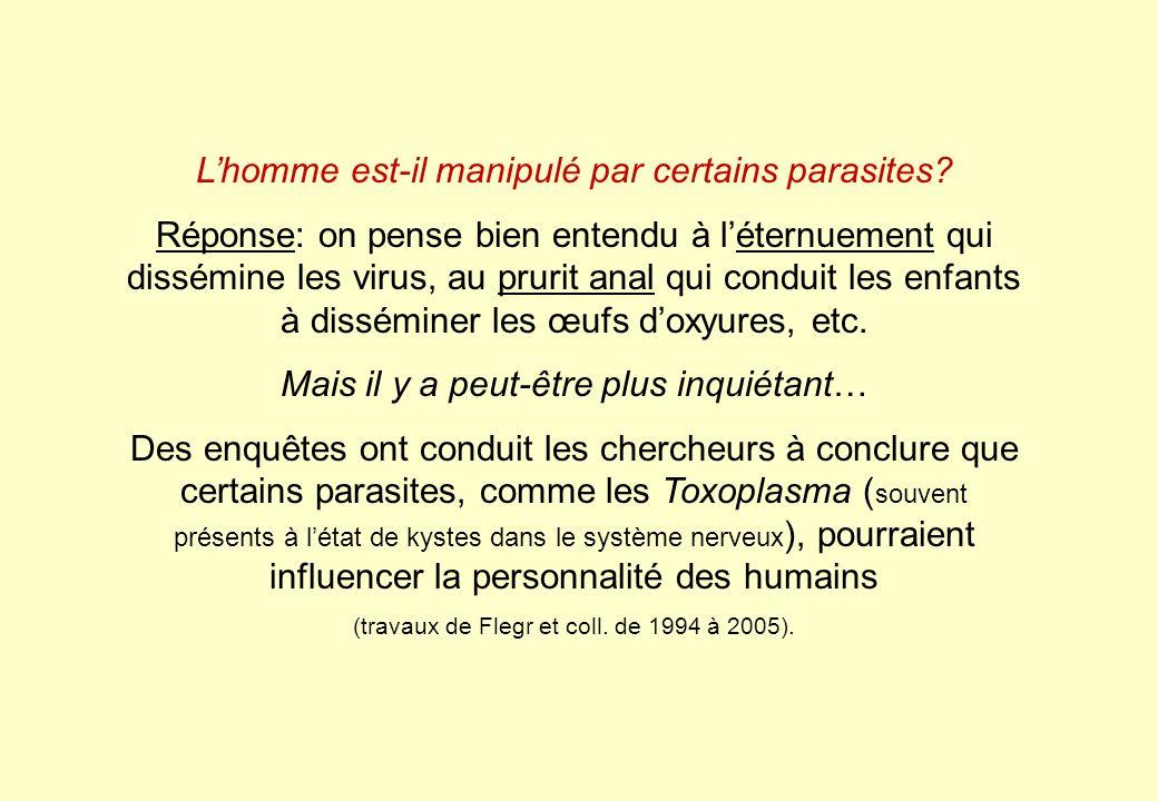 Lhomme est-il manipulé par certains parasites? Réponse: on pense bien entendu à léternuement qui dissémine les virus, au prurit anal qui conduit les e