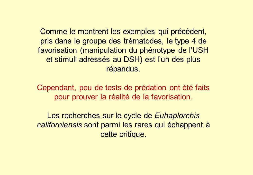 Comme le montrent les exemples qui précèdent, pris dans le groupe des trématodes, le type 4 de favorisation (manipulation du phénotype de lUSH et stim