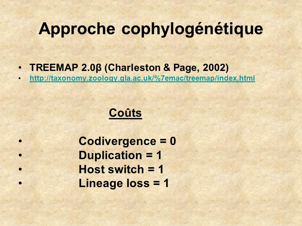 Approche cophylogénétique TREEMAP 2.0β (Charleston & Page, 2002) http://taxonomy.zoology.gla.ac.uk/%7emac/treemap/index.html Coûts Codivergence = 0 Du