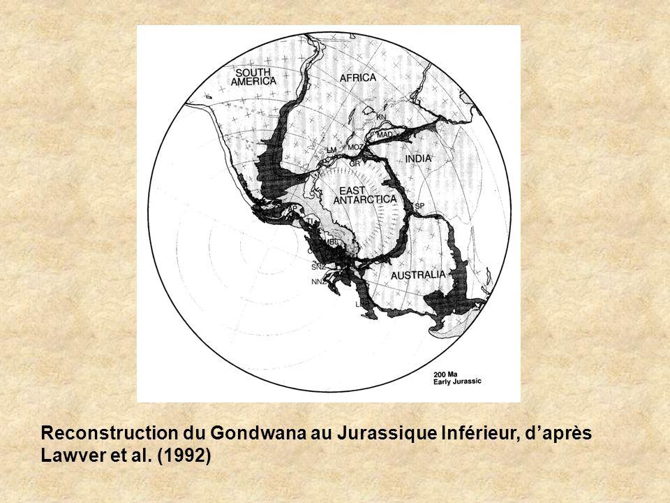 Reconstruction du Gondwana au Jurassique Inférieur, daprès Lawver et al. (1992)