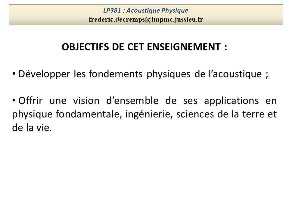 LP381 : Acoustique Physique frederic.decremps@impmc.jussieu.fr OBJECTIFS DE CET ENSEIGNEMENT : Développer les fondements physiques de lacoustique ; Of