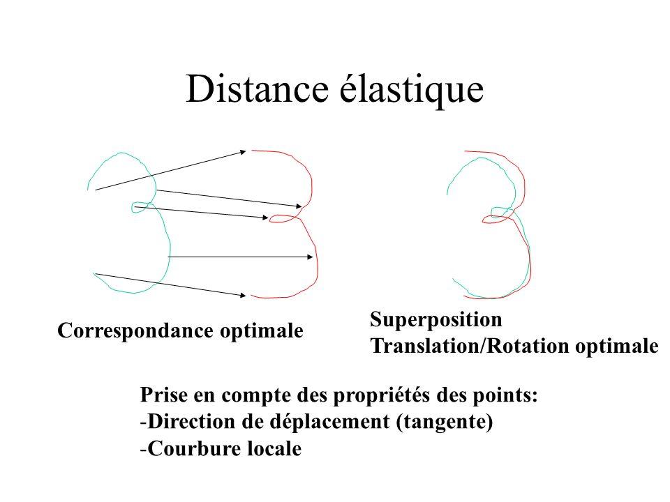 Distance élastique Correspondance optimale Superposition Translation/Rotation optimale Prise en compte des propriétés des points: -Direction de déplac
