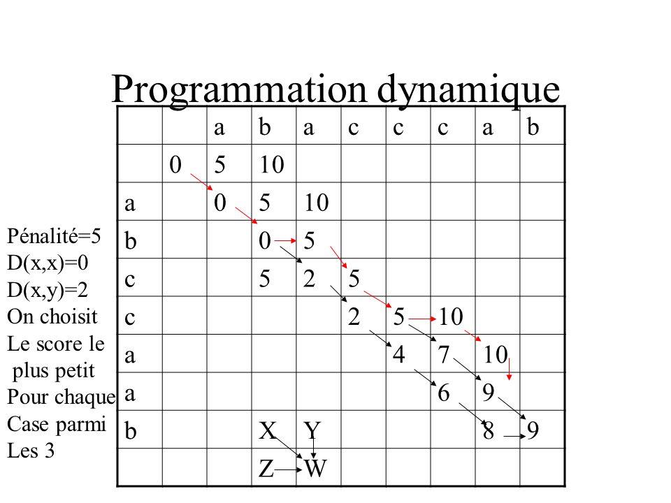 Programmation dynamique abacccab 0510 a05 b05 c525 c25 a47 a69 bXY89 ZW Pénalité=5 D(x,x)=0 D(x,y)=2 On choisit Le score le plus petit Pour chaque Cas