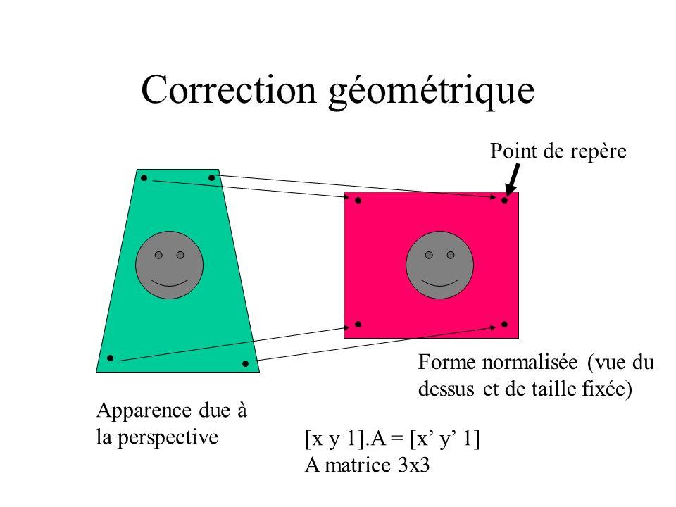 Correction géométrique Apparence due à la perspective Forme normalisée (vue du dessus et de taille fixée) [x y 1].A = [x y 1] A matrice 3x3 Point de repère