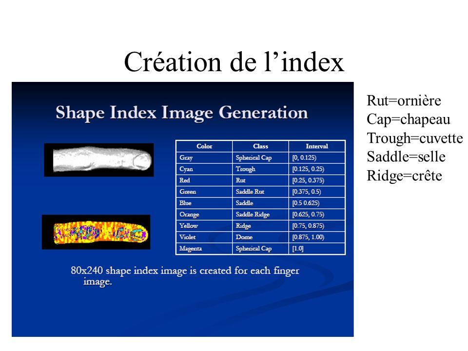 Création de lindex Rut=ornière Cap=chapeau Trough=cuvette Saddle=selle Ridge=crête