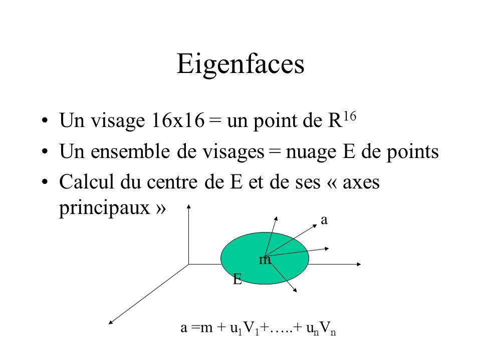 Eigenfaces Un visage 16x16 = un point de R 16 Un ensemble de visages = nuage E de points Calcul du centre de E et de ses « axes principaux » m E a a =
