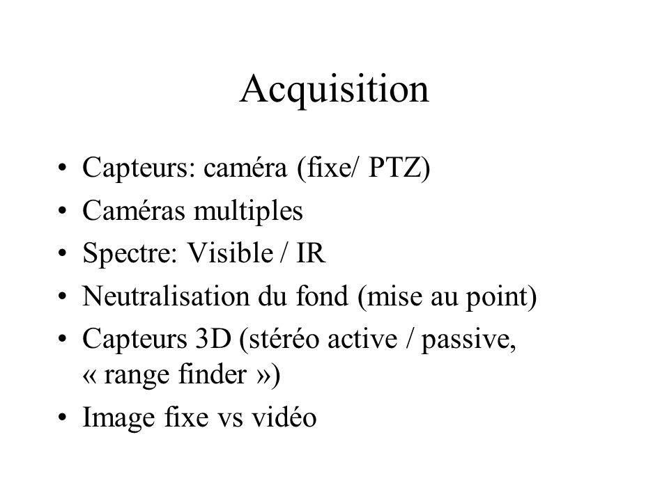 Acquisition Capteurs: caméra (fixe/ PTZ) Caméras multiples Spectre: Visible / IR Neutralisation du fond (mise au point) Capteurs 3D (stéréo active / p