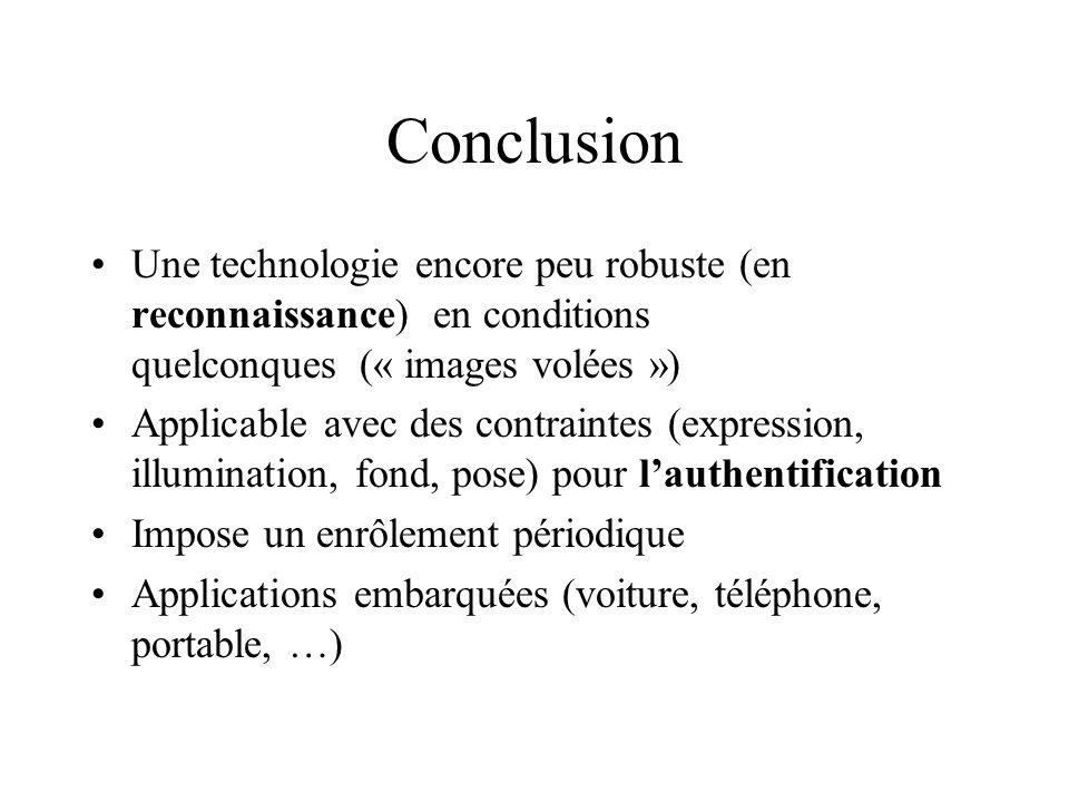 Conclusion Une technologie encore peu robuste (en reconnaissance) en conditions quelconques (« images volées ») Applicable avec des contraintes (expre