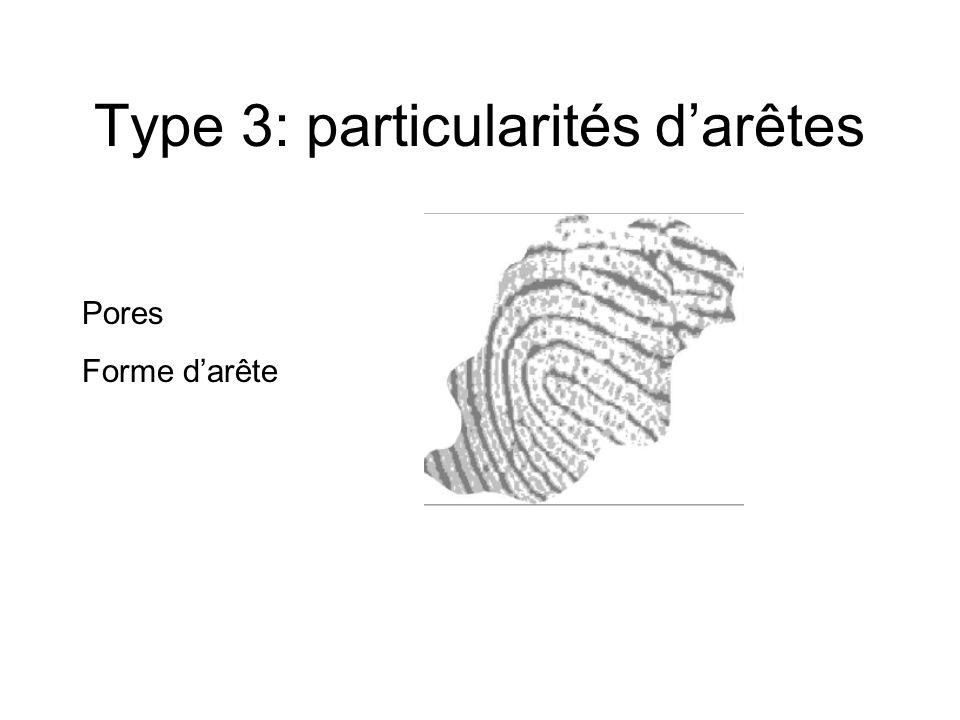 Type 3: particularités darêtes Pores Forme darête