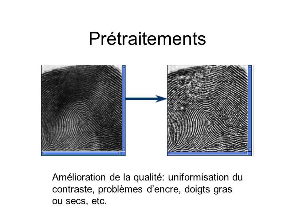 Prétraitements Amélioration de la qualité: uniformisation du contraste, problèmes dencre, doigts gras ou secs, etc.