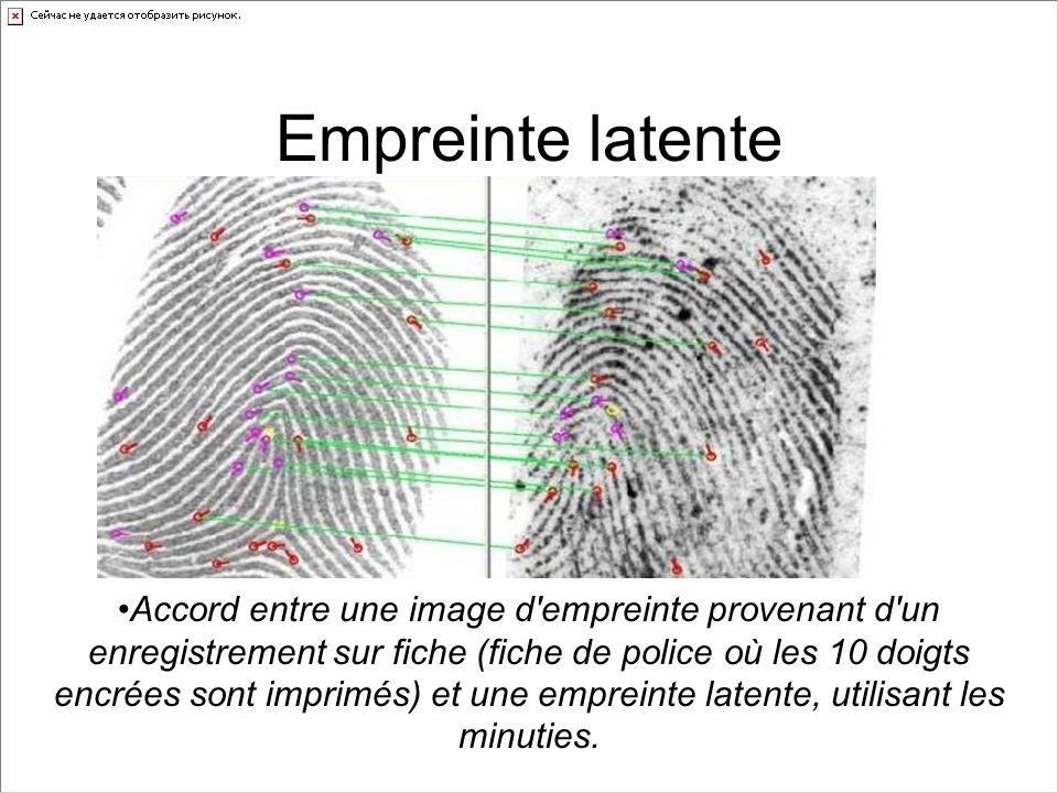 Empreinte latente Accord entre une image d'empreinte provenant d'un enregistrement sur fiche (fiche de police où les 10 doigts encrées sont imprimés)