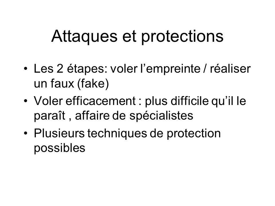 Attaques et protections Les 2 étapes: voler lempreinte / réaliser un faux (fake) Voler efficacement : plus difficile quil le paraît, affaire de spécia
