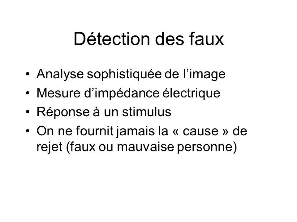 Détection des faux Analyse sophistiquée de limage Mesure dimpédance électrique Réponse à un stimulus On ne fournit jamais la « cause » de rejet (faux