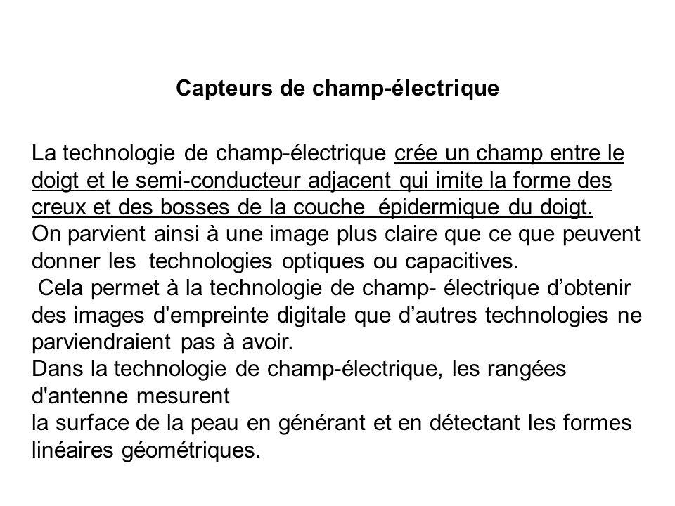 Capteurs de champ-électrique La technologie de champ-électrique crée un champ entre le doigt et le semi-conducteur adjacent qui imite la forme des