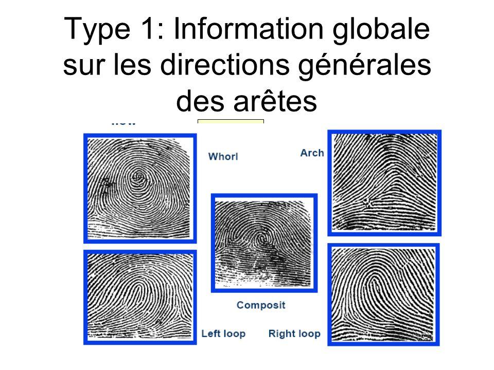 Type 1: Information globale sur les directions générales des arêtes spirale