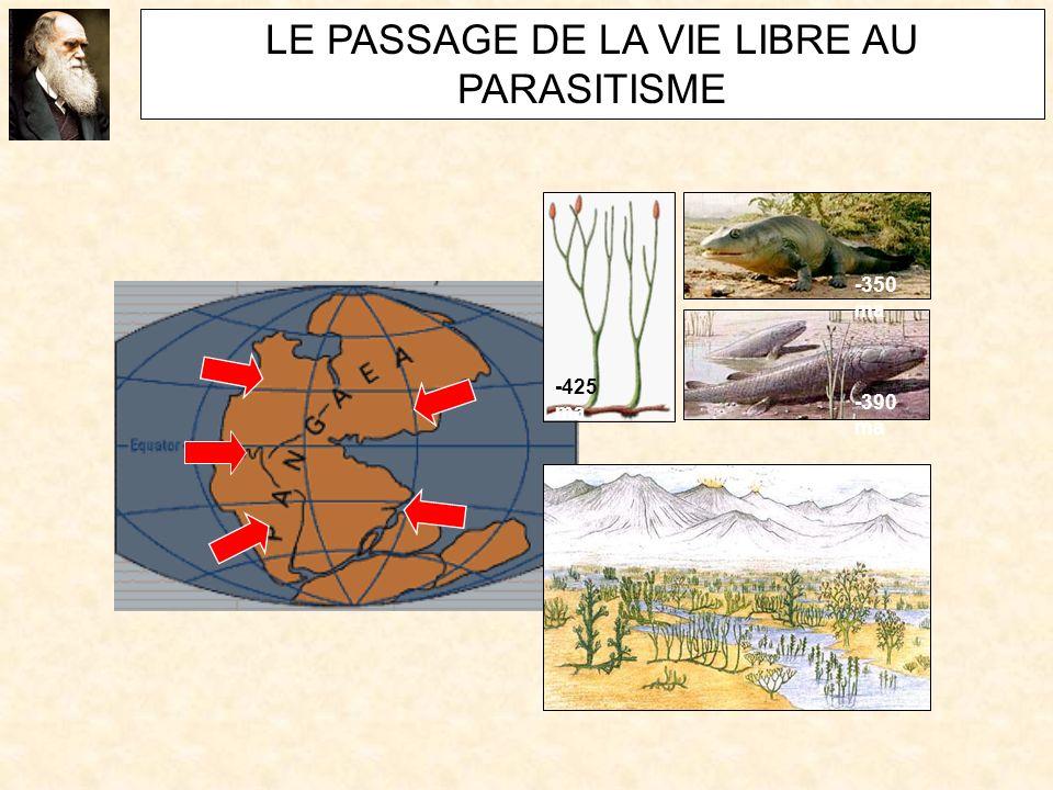 LE PASSAGE DE LA VIE LIBRE AU PARASITISME -390 ma -350 ma -425 ma
