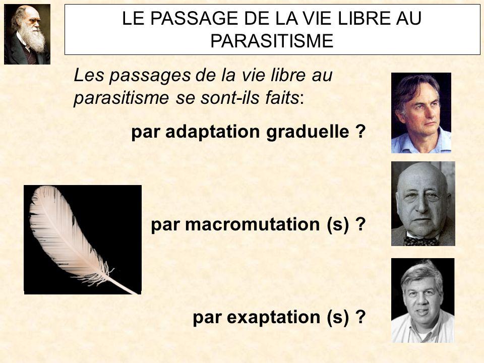 LE PASSAGE DE LA VIE LIBRE AU PARASITISME Les passages de la vie libre au parasitisme se sont-ils faits: par adaptation graduelle ?
