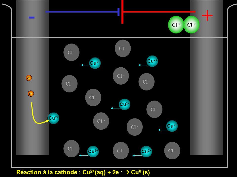 Cl - e-e- e-e- -+ Cu 2+ Cl 0 Réaction à la cathode : Cu 2+ (aq) + 2e - Cu 0 (s)