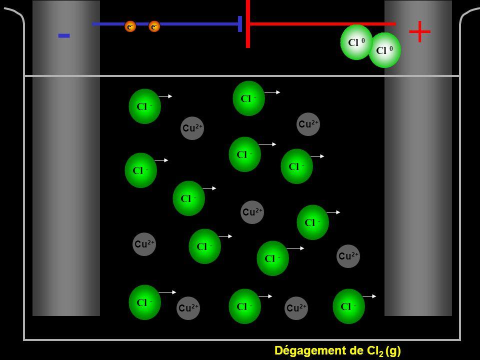 Cl - -+ Cl 0 Dégagement de Cl 2 (g) e-e- e-e- Cu 2+