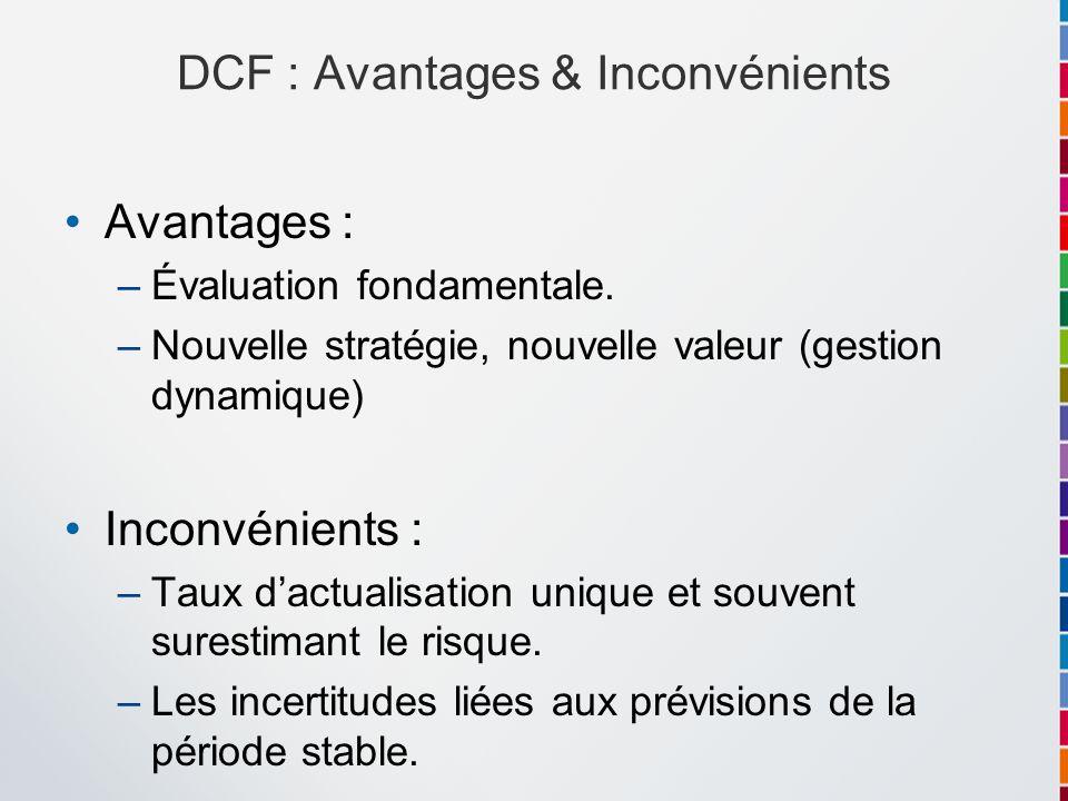DCF : Avantages & Inconvénients Avantages : –Évaluation fondamentale. –Nouvelle stratégie, nouvelle valeur (gestion dynamique) Inconvénients : –Taux d