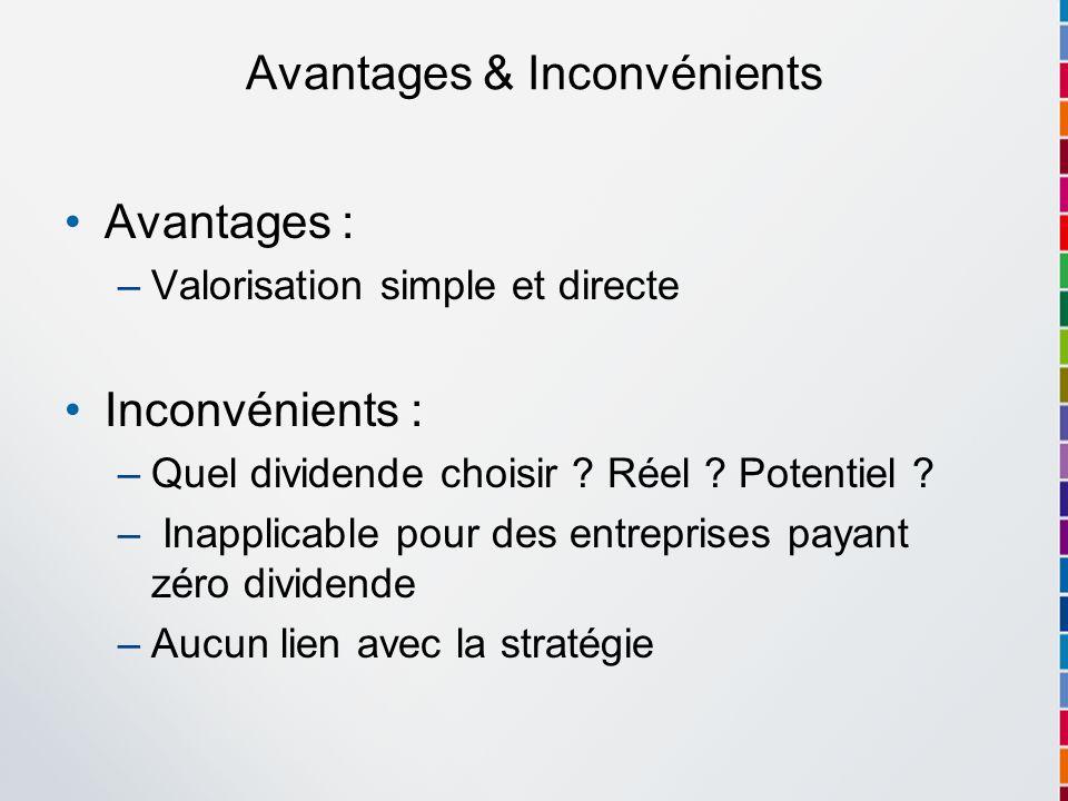 Avantages & Inconvénients Avantages : –Valorisation simple et directe Inconvénients : –Quel dividende choisir ? Réel ? Potentiel ? – Inapplicable pour