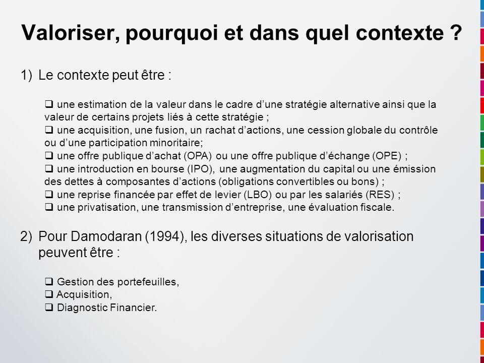 Valoriser, pourquoi et dans quel contexte ? 1)Le contexte peut être : une estimation de la valeur dans le cadre dune stratégie alternative ainsi que l