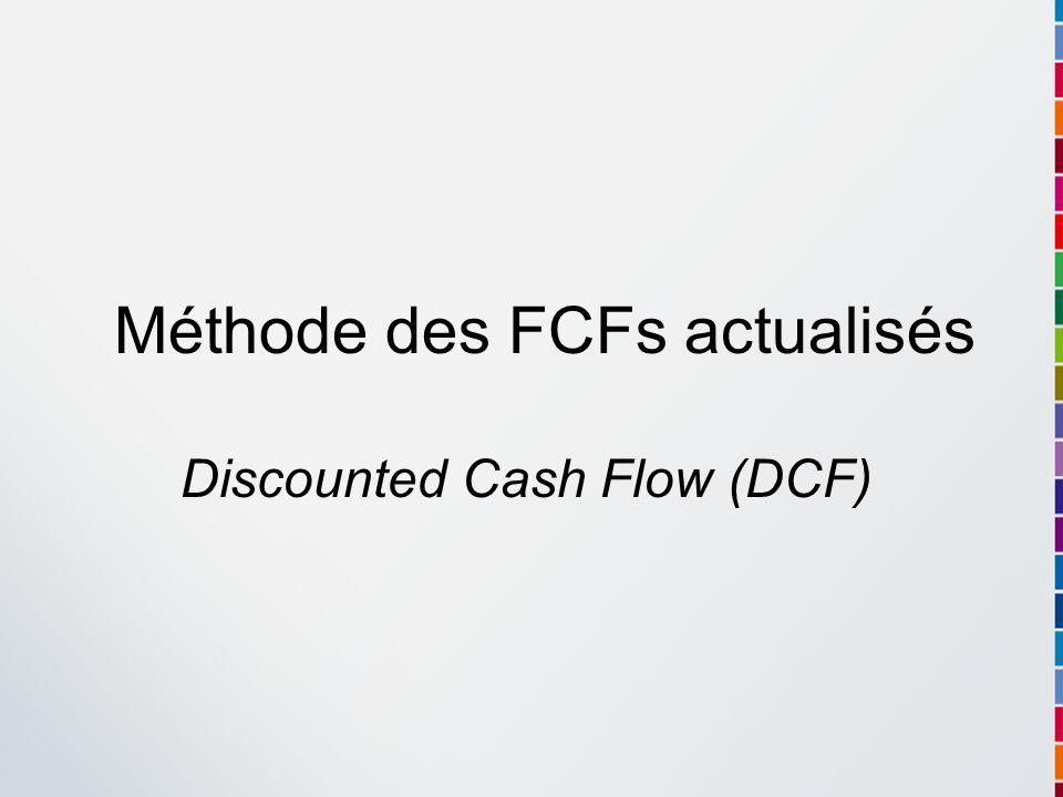 Valeur de lactif économique ou des capitaux engagés, V CE Valeur de la dette financière nette, V D Valeur des capitaux propres, V CP V CP = V CE – V D Méthode destimation indirecte des capitaux propres