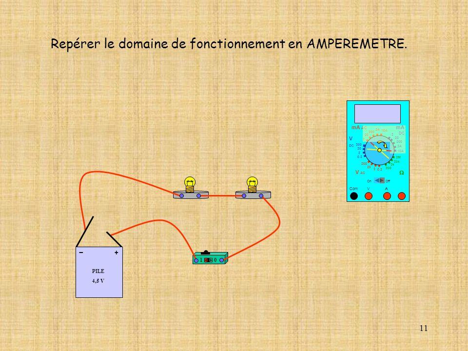 11 10 A Repérer le domaine de fonctionnement en AMPEREMETRE.