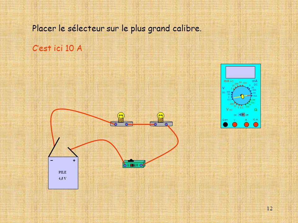 12 10 A Com mA DC A OffOn 10A 2A 200 20 V 2 V AC mA AC V DC 2M 20k 2k 200 0.2 2 200 20 2 0.2 2 20 200 Placer le sélecteur sur le plus grand calibre.