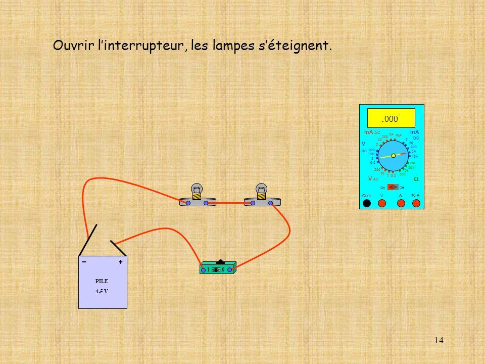 14 10 A Com mA DC A OffOn 10A 2A 200 20 V 2 V AC mA AC V DC 2M 20k 2k 200 0.2 2 200 20 2 0.2 2 20 200 Ouvrir linterrupteur, les lampes séteignent.