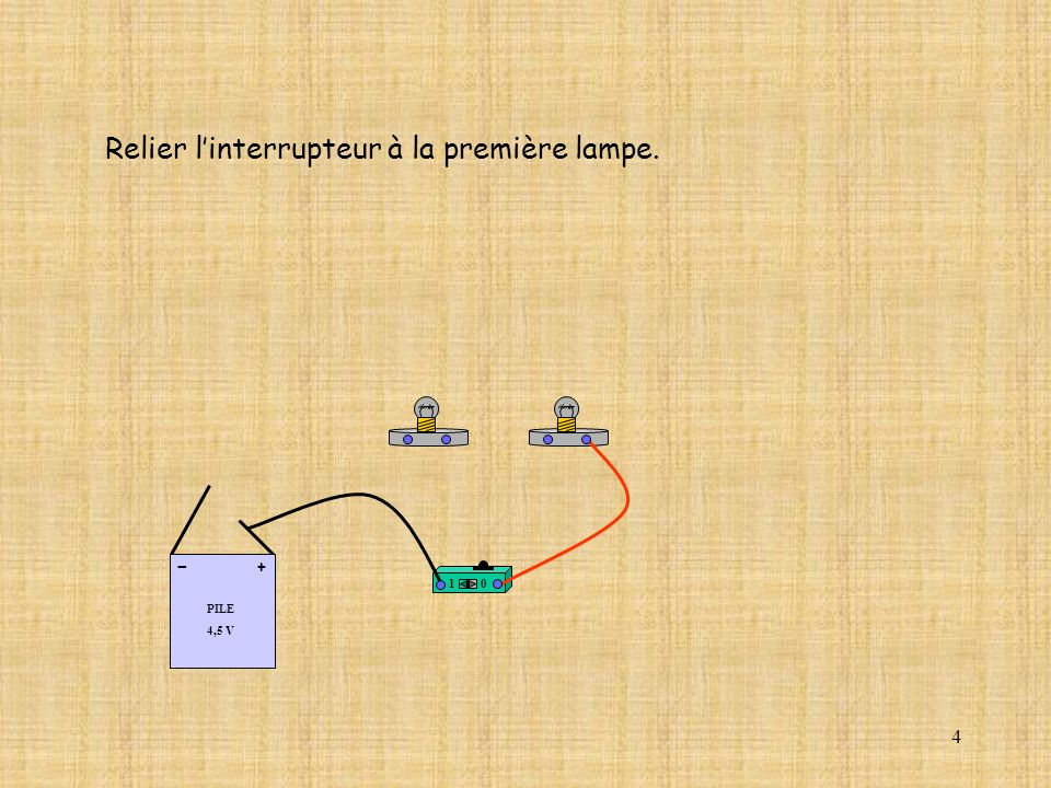 25 10 PILE 4,5 V + - Refermer le circuit électrique.