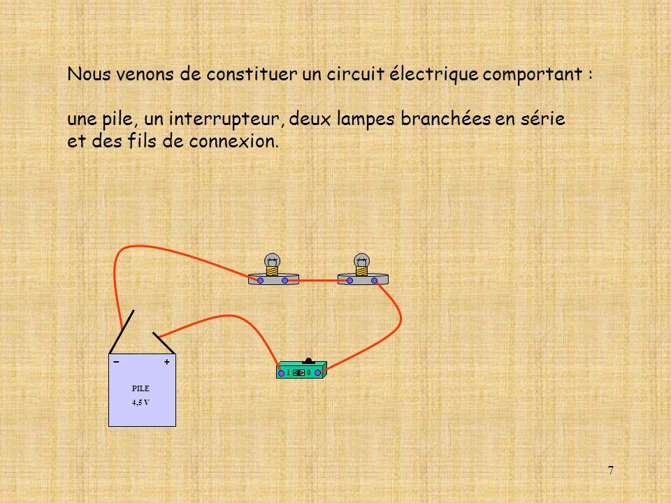 7 Nous venons de constituer un circuit électrique comportant : une pile, un interrupteur, deux lampes branchées en série et des fils de connexion.