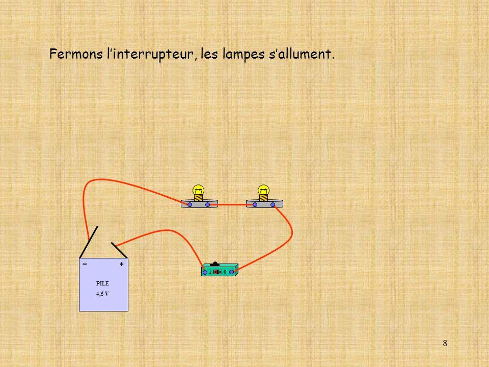 8 Fermons linterrupteur, les lampes sallument. 10 PILE 4,5 V + -