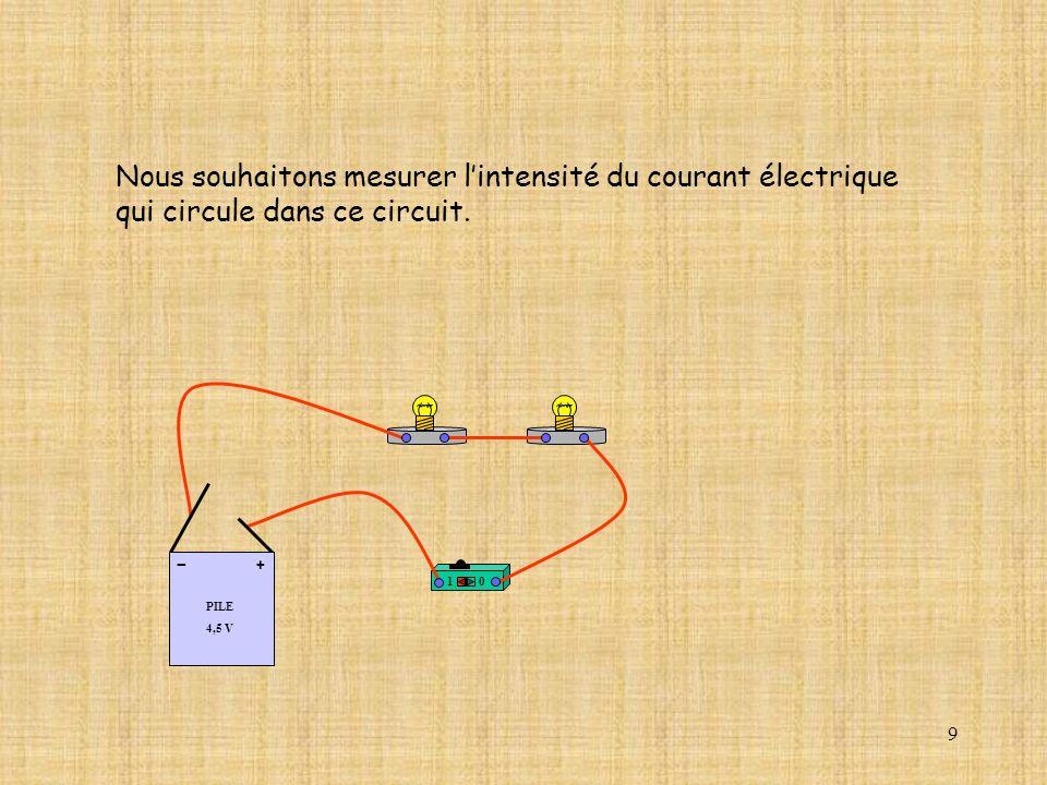 9 Nous souhaitons mesurer lintensité du courant électrique qui circule dans ce circuit.