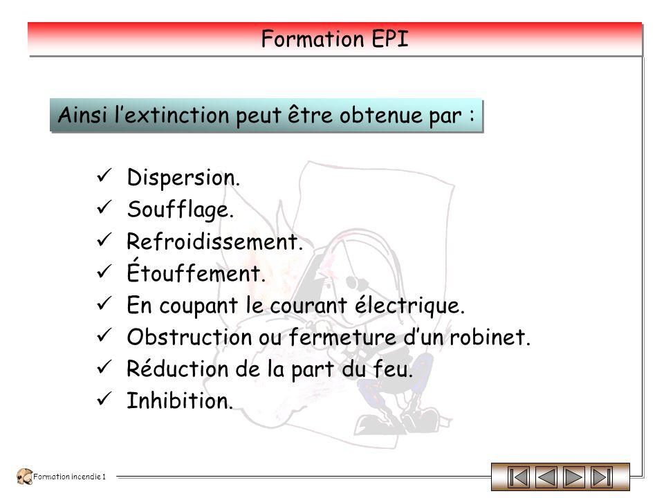 Formation incendie 1 Formation EPI Lextinction peut être obtenue par différents procédés.